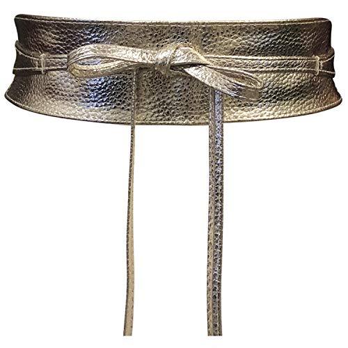 Live It Style It Damen Obi Gürtel breite Spitze Taille Band Kunstleder Cinch binden One Size Boho (Gold Leder)