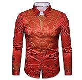 Luckycat Herren Herbst Casual African Print Pullover Langarm Shirt Top Bluse Mode 2018