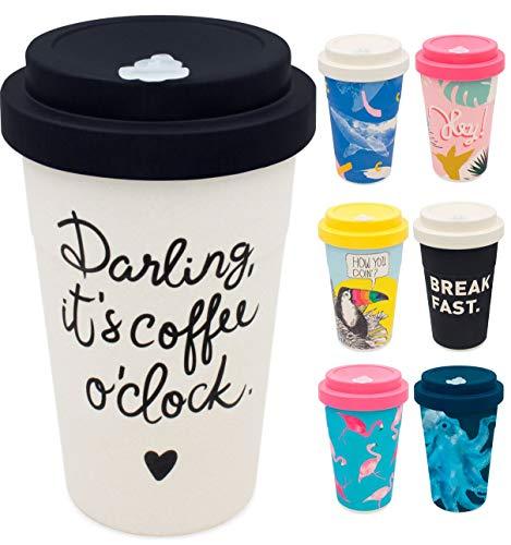 holi. Coffee-to-Go Bambus-Becher mit Schraubdeckel | nachhaltiger Kaffeebecher mit Verschluss | Mehrweg-Becher Bamboo-Cup | Woodcup, lebensmittelecht, spülmaschinenfest (Darling New Black) -
