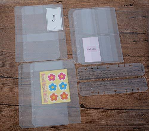 funcoo 6-Ring-Kunststoff Binder Taschen/Bill Tasche/Name Card Kreditkarte Halterung Tasche, Set von 6Binder Planer Notebook Refills Taschen + 2Kunststoff Seite Marker Meßlineal A5 farblos -