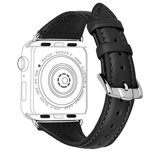 iBazal 38mm 40mm Lederarmband Kompatibel mit iWatch Series 4 3 2 1 Armband Leder Uhrenarmband Bands Armbänder Uhrarmband Glänzender Bling Lederband Watchband Herren Damen Uhr - Schwarz 38/40