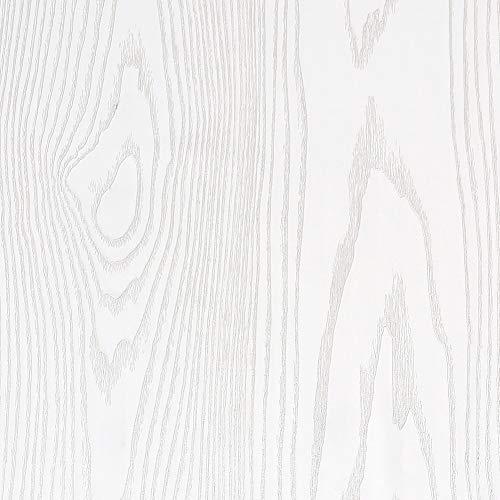 Livelynine dickes weißes Kontaktpapier für Schrank Holz Abziehen und Aufkleben Tapeten Kleber Regal Liner für Küche Schrankauskleidung Weiß Holz besser als Papier Pinnwand Rolle 39,8 x 19,8 cm