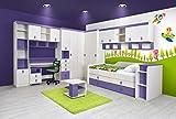 Kinderzimmer Komplett - Set D Luis, 16-teilig, Farbe: Eiche Weiß/Lila
