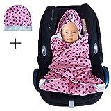 SWADDYL Einschlagdecke Maxi cosi aus Baumwolle Sommer Übergangszeit - Babyschale, Autositz im SET mit Babymütze ÖKO-TEX (Rosa)