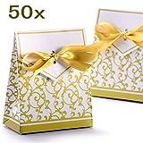 JZK 50 Oro scatolina bomboniera scatola portaconfetti segnaposto per matrimonio compleanno Natale battesimo comunione nascita laurea