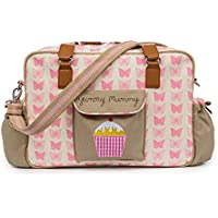 Yummy Mummy Stylish Nursery Changing Bag - Pink Butterflies - Includes Travel Changing Mat Cupcake Design Plus 1 Pack Of Happy Mummy Hook n Stroll Pram Clips