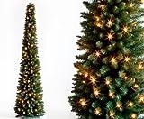 kunstpflanzen-discount.com Künstlicher LED Weihnachtsbaum Säule beleuchtet, Höhe 180cm säulenförmiger Weihnachtsbaum Tannenbäume Christbäume