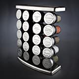 Burton McCall Olde Thompson 20 Embossed Metal Cap Spice Glass Jars and Stainless Steel Spice Jar Rack with Spices