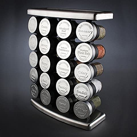 Burton McCall Olde Thompson 20 Embossed Metal Cap Spice Glass Jars and Stainless Steel Spice Jar Rack with
