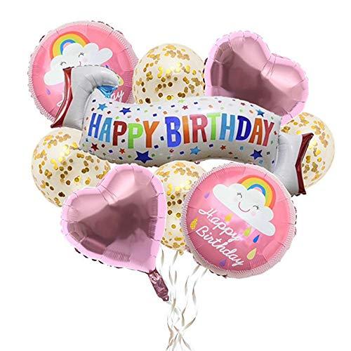 (Xinlie 9 Stück Happy Birthday Girlande Alles Gute zum Geburtstag Banner Geburtstagsdeko Geburtstag Party Dekoration Einschließlich Konfetti Ballons Folie Ballons Und 10 M Luftschlangen (Rosa))