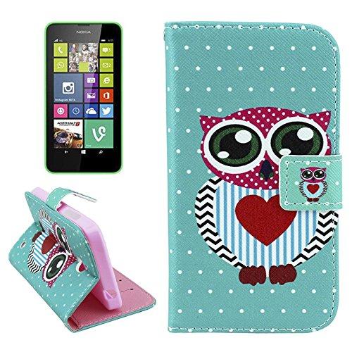 König-Shop Nokia Lumia 630 / Lumia 635 Handy Hülle Schutzhülle Schutztasche Wallet Tasche Case Cover Etui Schale Handyhülle Handyschale Handytasche mit Standfunktion Eule mit Herz