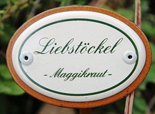 Gartenstecker - Kräuterstecker Maggikraut - Liebstöckel - 25 cm Münder Emaille