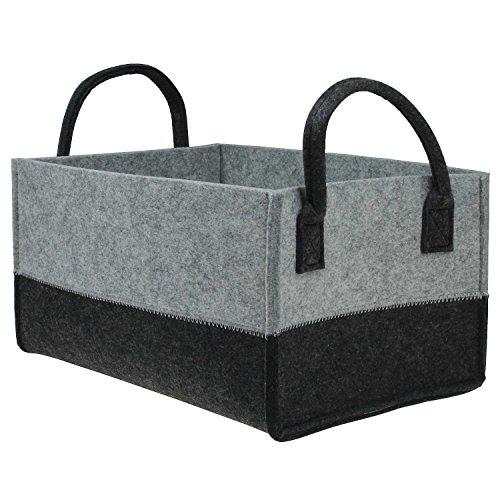 Hochwertige Filzkörbe recht-eckig grau-schwarz mit Henkel von MACOSA HOME, Regalkorb stabil und robust. Verschiedene Größen oder im 3er Set. Allzweckkorb Filz, Aufbewahrung, Filz-Box (L(38x27 cm))