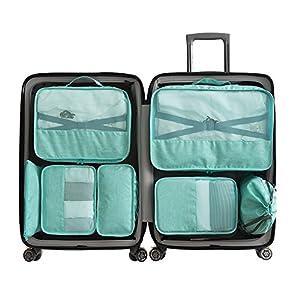 Cocogo 7 Set Sistema di Cubo di Viaggio - 3 cubetti per imballaggio + 2 sacchetti + 1 sacchetto per intimo + 1 sacchetto per scarpe (verde)