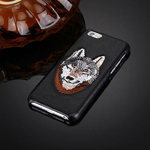 Wkae Case Cover Für iPhone 6 &6s Öl-Haut-Beschaffenheit Stickerei Leopard-Muster PU-Paste-Haut-PC-Schutzhülle ( SKU : IP6G0536A ) IP6G0536B