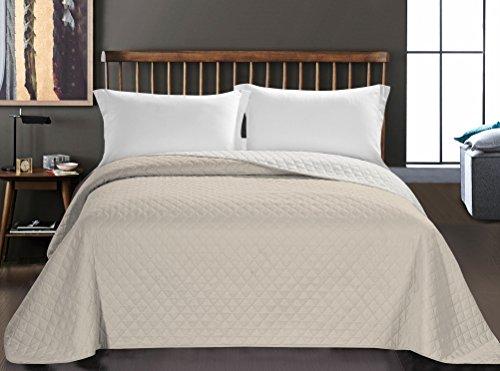 DecoKing 33005 Tagesdecke 200 x 220 cm weiß hellbeige Bettüberwurf zweiseitig Steppung pflegeleicht white cappuccino Axel
