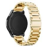 EloBeth Kompatibel Samsung Gear S3 Armband Edelstahl Metall band Ersatz Sportarmband für Gear S3 /Galaxy Watch 46mm(Gold)