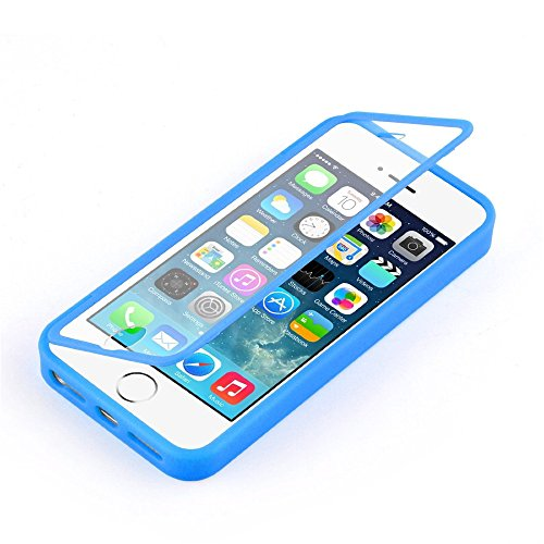 Pacyer® Coque iPhone 6s PLUS coque à rabat transparent Coque anti choc silicone à rabat flip cover étui intégral pour iPhone 6 PLUS case cover Étui Glisser Bleu