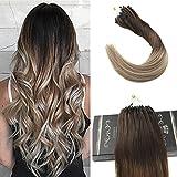 Ugeat 24zoll 60cm Micro Ringe Haarverlangerung 50g 1g/Strahnen Ombre Brazilian Extensions Echthaar #4/6/613 Brown mit Blonde
