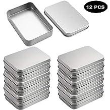 Pack 12 Piezas Latas Pequeñas Rectangulares de Metal - Latas Vacías Tapas sin Bisagras para Menta Tabaco por Kurtzy - Contenedores 9cm x 6cm x 2cm para Kits ...