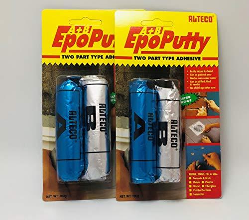 Alteco Vorratspack Mini 2 Stück EPO Putty, Reparaturkitt - Knetmasse aus Zwei Komponenten, Epoxykleber 2 x 100g