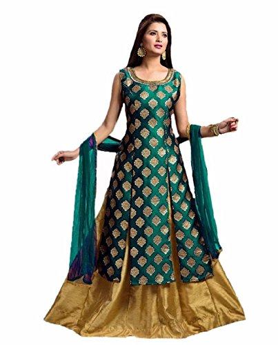 Riyan Enterprise Women's Latest Designer Party Wear Green Color Gown, Indo Western...