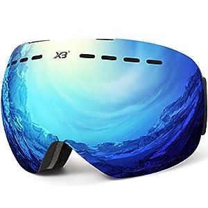 DADA-PRO Skibrille, Herren Damen Snowboardbrille Erwachsene über Gläser OTG rahmenlose für Ski Anti-Fog, UV-Schutz Sonnenbrille