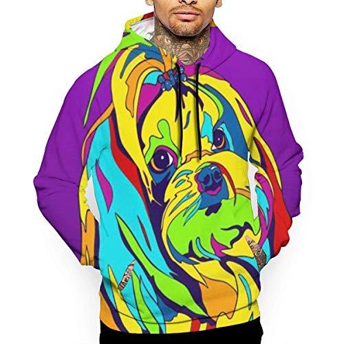 1Zlr2a0IG Mehrfarbiges Havaneser Hunde-T-Shirt mit Kapuze und Reißverschluss für Männer -