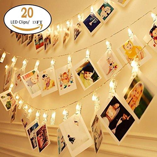 (Kinder Raum Wand DECO LED Foto Clips Lichterkette perfekt für Hochzeit Überraschung Büro Feiern und DIY Aufhängen phtoes 20Clips 13Füße warm weiß)