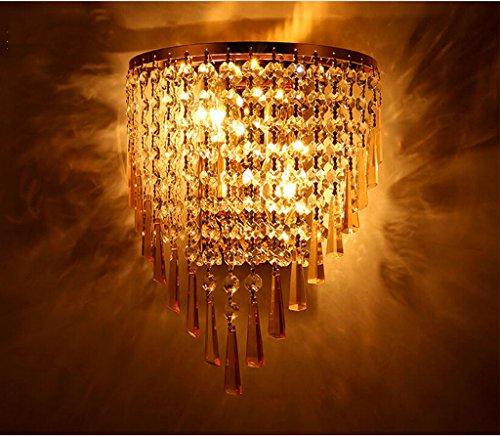 Mode Retro Wandleuchten-WXP Europäische Art-Kristallwandleuchte Kreative Edelstahl Wandleuchten Einfach Wohnzimmer Gang beleuchtet Schlafzimmer Led Nachtwandleuchte Innenbeleuchtung Wandbeleuchtung-WXP ( farbe : # 3 , größe : 22*30cm ) (American Art Drei-licht)
