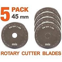 Rotary Cutter cuchillas 45mm x 5unidades | Compatible con Olfa, Fiskars 45mm cortador rotatorio | perfecto para acolchar, patchwork, manualidades y costura