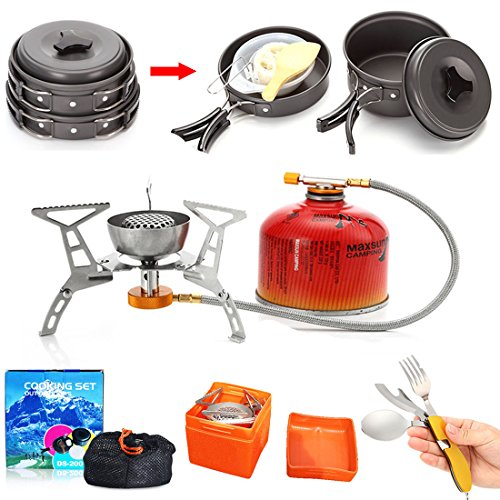 Hot Sale 1-2 Persons Camping Cookware Stove Multifunctional Spoon Set UKGOOD Outdoor Portable Ultralight Aluminium Alloy Camping Hiking Backpacking Non-stick Set Kit Pan Ideal Gift Choice For You 【Lifetime Warranty】