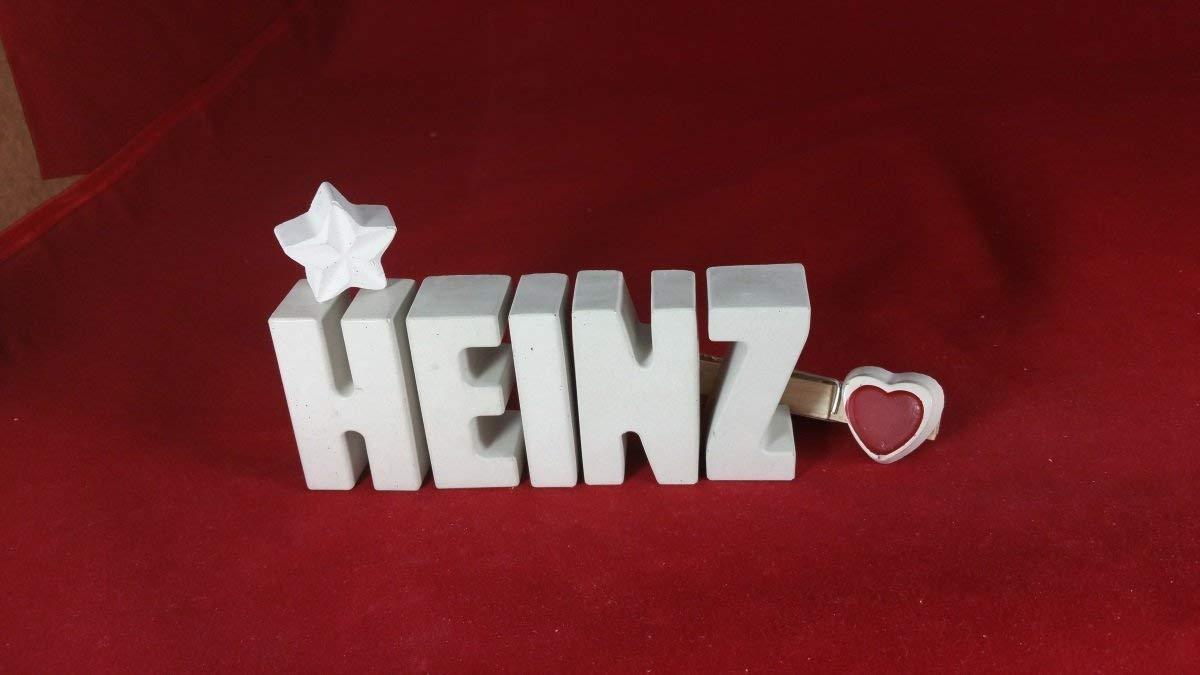 Beton, Steinguss Buchstaben 3D Deko Namen HEINZ mit Stern und Herzklammer als Geschenk verpackt! Ein ausgefallenes Geschenk zur Geburt, Taufe, Geburtstag, Namenstag oder auch zu Weihnachten! 6
