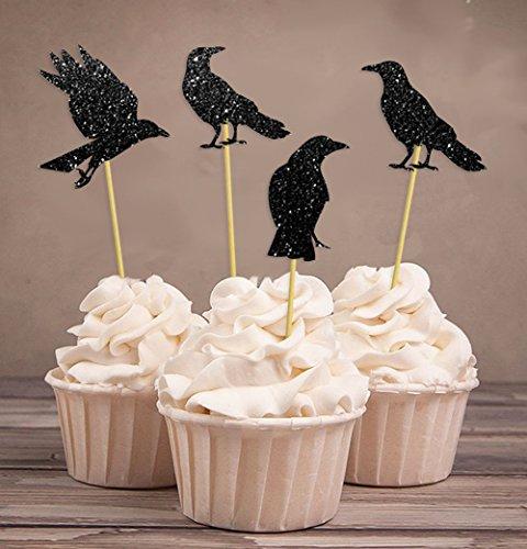 Darling Souvenir, Halloween-Party-Glitter Black Crow-Kuchen-Deckel, Party-Nachtisch-Kuchen-Dekorationen – Packung mit 20