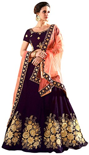 WestCoastOn Embroidered Semi Stitched Legenga Choli and Dupatta Set (Dark Purple)