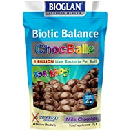 Bioglan Biotic Balance Milk Choc Balls for Kids, 1 Billion CFU Probiotic per ball, suitable for Vegetarians, Source of Fibre and Calcium. - 30 balls