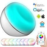 Smart Ttischlampe, WiFi Sprach- oder Smartphone-Steuerung, kompatibel mit Amazon Alexa / Google Home, 16 Millionen Lichtfarben, 3 Szenarien dimmbares Umgebungsnachtlicht, Timing-Funktionen, LED Nachttischlampe, Cinbos Intelligente Tischlampe