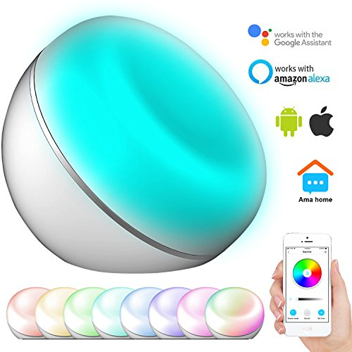 Smart Table Lamp CINBOS Wi-Fi Controlled by Voice Or Smartphone, Works with Amazon Alexa/Google Home, 16 Million Colors 3 Scene Dimmable Ambient Night Light, Timer Function LED Bedside Lamp
