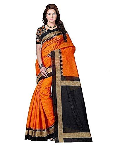Alka Fashion Women\'s Art Silk Saree With Blouse Piece (Afs233S_Orange And Black)