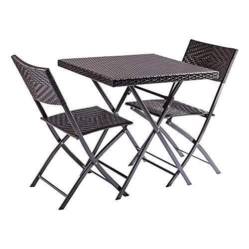 Trueshopping Honfleur Rattan Bistro Set mit Tisch und 2 klappbaren Rattanstühlen für den...