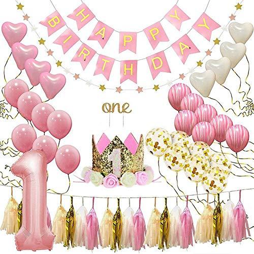 Geggur Happy Birthday Banner 1 Jahr Geburtstagsdeko Dekoration Set für Mädchen Party Dekorationen Kindergeburtstag Luftballons Ballons Deko Prinzessin Rosa Thema