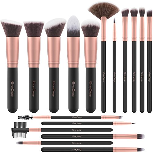 EmaxDesign Make Up Pinsel 17 Stücke Synthetisch Schminkpinsel Set Foundation Grundierung Bürsten...
