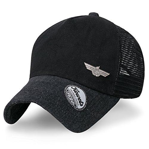 Ililily Howels Denim Solid Color Baseball Cap Metal Badge Mesh Trucker Hat