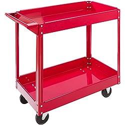 Arebos Chariot Servante d'atelier à 2 étages / Large capacité de charge jusqu'à 100 kg