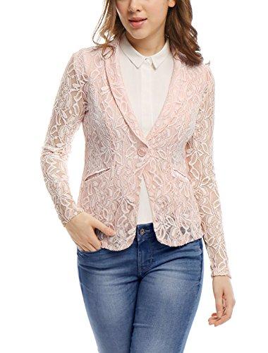 Allegra K - Chaqueta de traje - Blazer - Manga Larga - para mujer rosa rosa M...