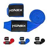 HONEX Boxbandagen, halbelastisch, Profi-Qualität, Wickelbandagen mit extrabreitem Klettverschluss, 4m, Blau