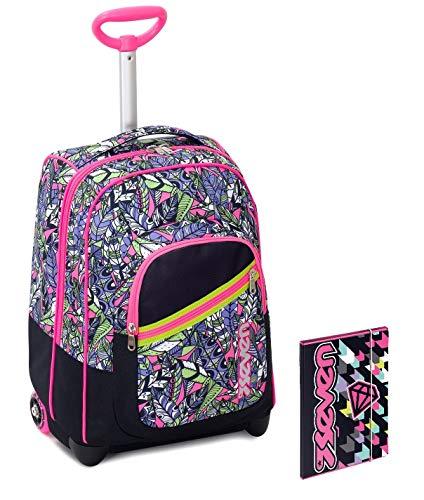 Trolley bambina seven + cartellina - rosa nero - spallacci a scomparsa! zaino 35 lt scuola e viaggio - idea regalo natale