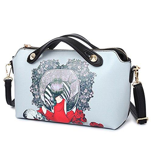 Damen Handtaschen-Handtaschen-Diagonalpaket-Art- Und Weisekarikatur-Druck-Schulter-Beutel-Schulter-Beutel-Rosen-Mädchen-beweglicher PU-Schulter-Beutel Black