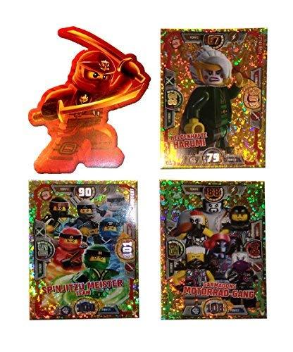 Serie 3 Ninjago Limitierte Gold Karten LE 9 LE 10 und LE 11 + Bonus Aufkleber Kai -