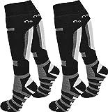normani 1 oder 2 Paar Ski- / Snowboardsocken Thermo Unisex atmungsaktiv Farbe Schwarz/Grau/2er Größe 39/42